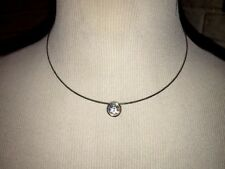 Silver Choker Necklace With Solitaire Rhinestone Pendant -