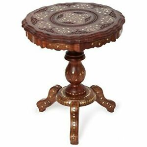 Brass embedded Sheesham wood Coffee Table Living Room Center Stool Portable