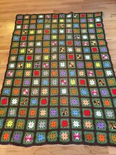 Vintage Afghan Crochet Granny Square Blanket Throw Handmade Multi Color 44 X 64""