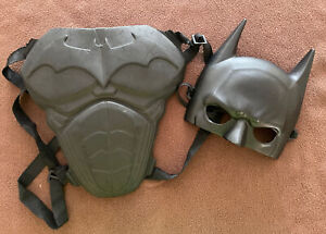 Kids BATMAN Mask and Chest Plate Pretend Play Costume Solid Black Adjustable