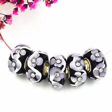 5pcs MURANO Lampwork charm Beads fit 925 silver European Bracelet Chain a217