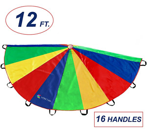 Parachute for Kids 12 Foot with16 Handles , Play Outdoor Kids Parachute