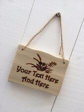 Handmade Personalised Rustic Wooden Wild Flowers Garden Allotment Sign Plaque