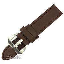 26 mm Brown Smooth Leather Watch Band Strap Stitch Aviator Pilot Big Pin Buckle