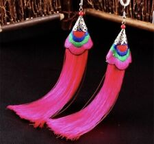 Earring Boho Festival Party Boutique Uk Pink Aztec Luxury Long Tassel Fashion
