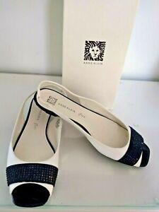 Anne Klein White Patent Black Jewel Open Toe Low Kitten Heel Slingback Shoes 9M