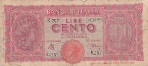 100 LIRE VG- NOTE FROM ITALY 1943  PICK-68