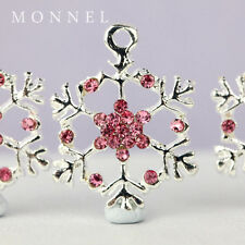 H512 Cute Hot Pink Crystal Snowflake Pendant Charm Wholesale (3pcs)