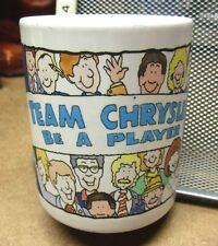 "TEAM CHRYSLER coffee mug 1980s cartoon Jesus ""Be A Player"" auto-maker Dodge"
