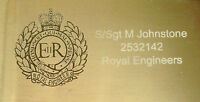 REGIMENTAL CREST ENGRAVED PLAQUES, RE, RM, ARMY, PARA, RAF, RAMC, REME, RLC, AGC