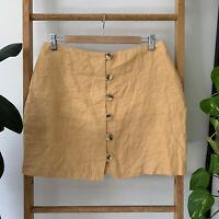 Ghanda Womens Mustard Yellow Button Up High Waisted Mini Linen Skirt Size 10