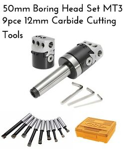 2 Inch 50mm Boring Head MT3 Arbor 9 Pce Carbide Tip Lathe Mill Set 12mm Thread