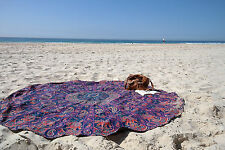 "72"" Inches Roundies Elephant Peacock And Flower Mandala Ombre Round Tapestry Mat"