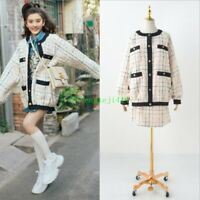 Occident Womens Designer Oversized Tweed Coat Jacket Bomber + Skirt 2 Pieces New