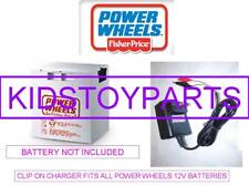 12V Clip On Battery Charger For The POWER WHEELS Grey & Orange Top Batteries