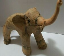"""Vintage Hand Carved Crushed Oyster Shell Elephant. Large 9""""Hx12""""L Philippines"""