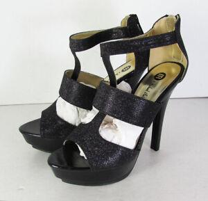 Michael Antonio Womens Ratio Platform Pump Sandal Shoes, Black Glitter, US 7.5
