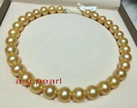 "AAAAA 18""12-13MM NATURAL real round south sea golden pearl necklace 14K gold"