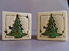 """Square 2-1/4"""" Christmas Tree Pottery Votive Candle Holders Set of 2"""
