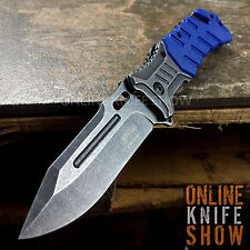 MASTER USA BLUE Tactical Spring Assisted Open Pocket Knife Stonewashed Blade