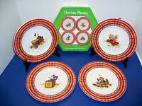 "Sakura Karelyn Siegler ""Christmas Morning"" 4 Salad or Dessert Plates (8.25"") NIB"