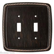 Double Light Switch Cover ROPE Wall Plate VENETIAN BRONZE Brainerd 126414