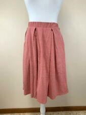 Lularoe M Medium Solid Heathered Light Red Madison Pleated Skirt Pockets