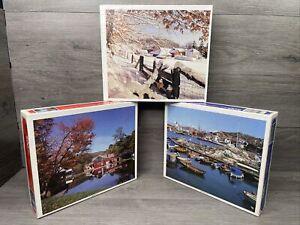 "3 Whitman 500 Pcs Puzzle 15""x18""(Swedish Seaport,Winter Farmlands,Hanford Mills)"