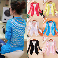 Women Lady Sweet Candy Color Crochet Knit Blouse Top Lace Coat Cardigan Sweater