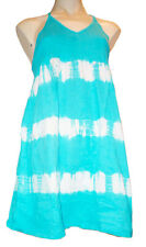 TURQOISE BLUE TieDye t-shirt material striped summer/beach dress, UK size 12/14