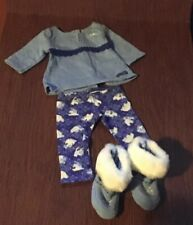 American Girl Doll 18� Blue Cozy Polar Bear Pajamas and Slippers Booties