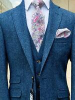 3PCS Men's British Wool Blue Tweed Suit Jacket Vest Pants Formal Business Custom