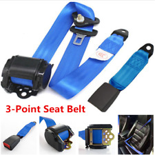 Blue Adjustable 3-Point Car Front Seat Safety Seat Belt  Buckle Kit Universal