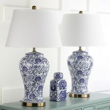 Table Lamps For Bed Room Side Pair Safavieh Lighting 29 inch White Blue 2 Light