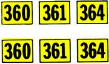 360 361 364 NUMBER ADHESIVE STICKER for American Flyer ALCO DIESEL Trains Parts