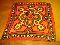 "Vera Square Silk Bandana Scarf Vintage 20"" x 21"" Japan hand rolled vibrant color"
