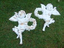 anges avec fleurs,plaque a suspendre , fronton , décoration en fonte lot de 2 !!