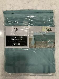 """Wamsutta 60""""x84"""" Oval Or Oblong Microfiber Tablecloth Turquoise NEW"""
