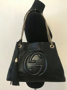 Authentic Gucci Soho chain tassel Black leather medium shoulder bag