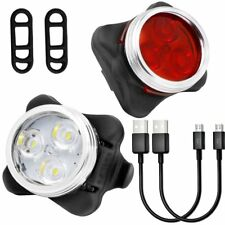 Set USB Rechargeable CREE Headlight Front Rear light Helmet Widebeam LED BIKE 3W