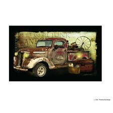 New Primitive Flea Market Junk Antique Truck Picture Canvas Wall Hanging