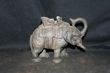 Cast Iron Mechanical Bank Elephant  Toy Bank Trunk up good luck No Reserve
