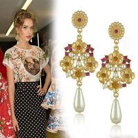 Gold Plated Rhinestone Baroque Flower Pearl Drop Dangle Stud Earrings