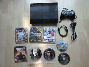 Console SONY PLAYSTATION 3 PS3 ultra slim + 8 jeux + 1 manette