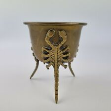 More details for vintage brass pot with figural scorpion legs 11.2cm high