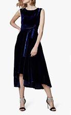 Karen Millen Velvet Asymmetric Belted Dress, Navy Size 14