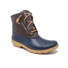 Sperry Syren Gulf Waterproof Duck Boots in Navy/Brown Womens Size 8.5