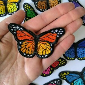 Embroidered Butterfly 8.2 x 4.8cm Iron-on Sew-on Fabric Applique Patch Badge UK