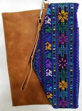 HUIPIL ENVELOPE CLUTCH GUATEMALA BAG PURSE WRISTLET BROWN LEATHER LIKE NENA & CO