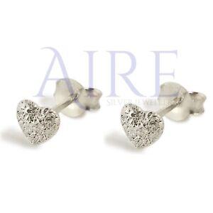 925 Sterling Silver - Heart Stud Earrings Frosted